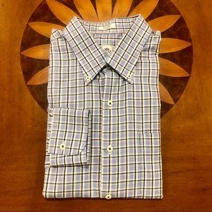 Peter Millar EUC XL Blue/Green Plaid Dress Shirt